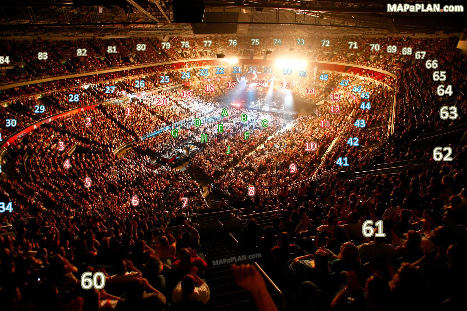 Sydney Allphones Arena detailed seating plan